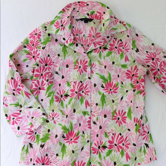 Lands' End PRETTY Pink Floral Ultra Smooth Blouse